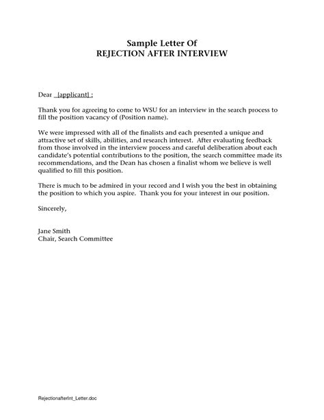 Rejection Letter Committee Rejection Letter After Crna Cover Letter