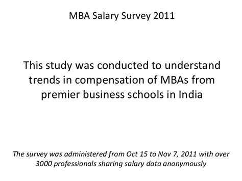 Mba In Technology Management Salary In India by Mba Salary Survey 2011