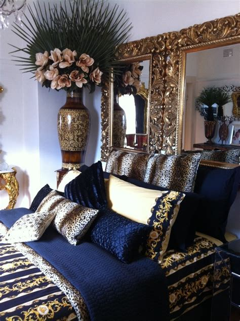 Navy Blue Gold White Bedroom Designs
