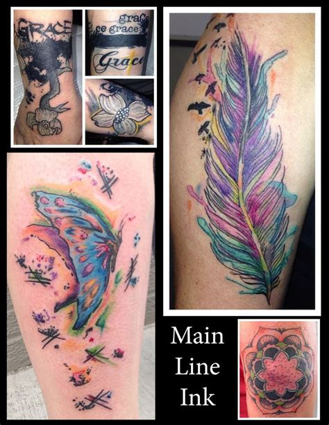 main line tattoo butterfly watercolor feather water color