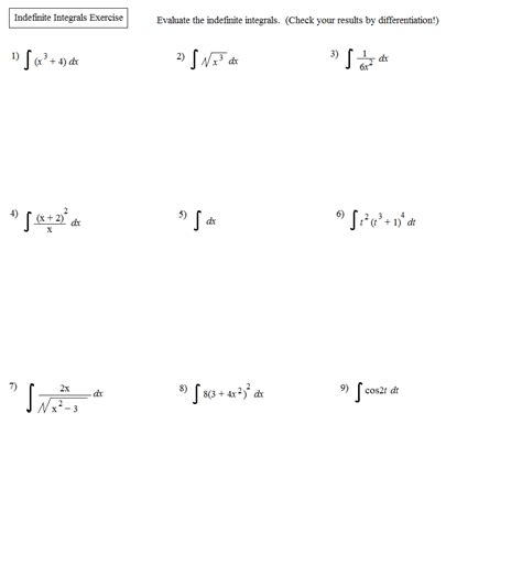 Definite Integral Worksheet by Indefinite Integrals Worksheet Go Search For