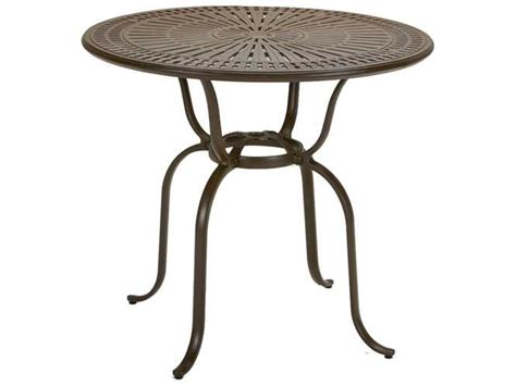 bistro table with umbrella hole tropitone kd spectrum cast aluminum 43 round bar table