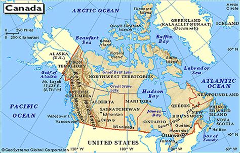 usa and canada physical features map map of us and canada physical features