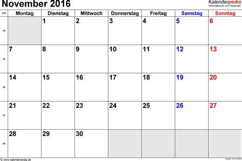 Kalender 2016 Nov Kalender November 2016 Als Word Vorlagen
