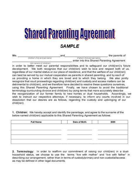 Custody Agreement Letter Exle Joint Custody Agreement Form 6 Free Templates In Pdf Word Excel