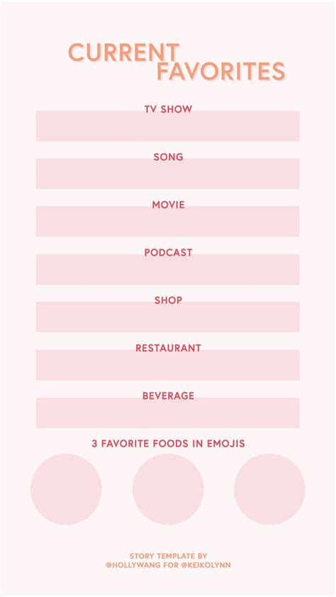 Instagram Stories Template Current Favorites Survey For Instagram Story Instagram Stories Instagram Story Template Questionnaire