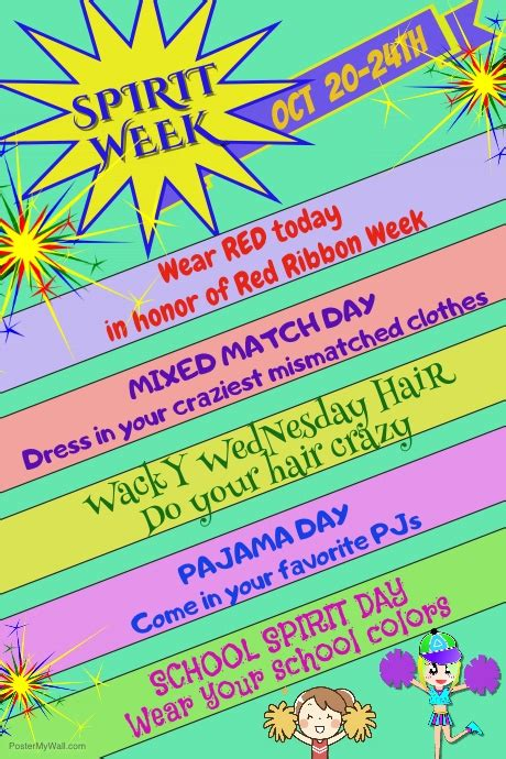 Spirit Week Poster Template Postermywall Free Spirit Week Flyer Template