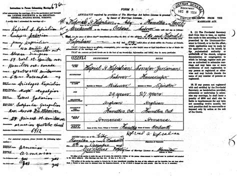 Ontario Marriage Records Armenian Immigration Project