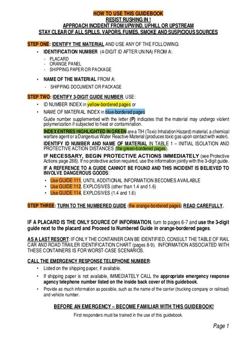 yellow section of erg emergency response guidebook 2012