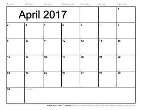 blank april 2017 calendar weekly calendar template