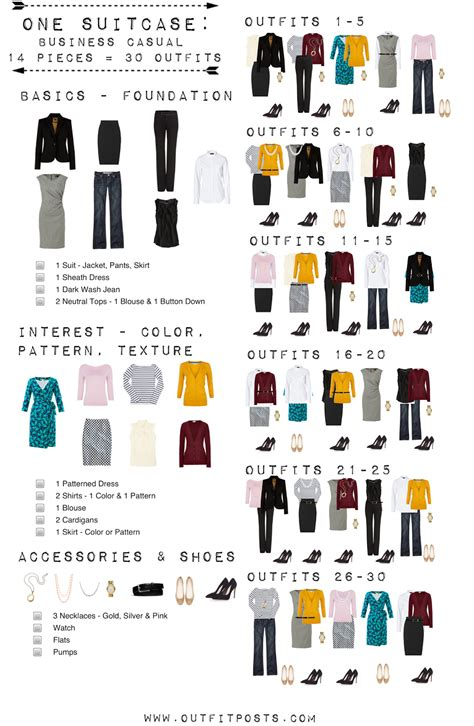Capsule Wardrobe Checklist by One Suitcase Business Casual Capsule Wardrobe Posts
