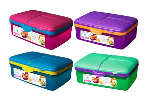 Sistema 1.5L Slimline Quaddie Coloured Lunch Box   Oldrids