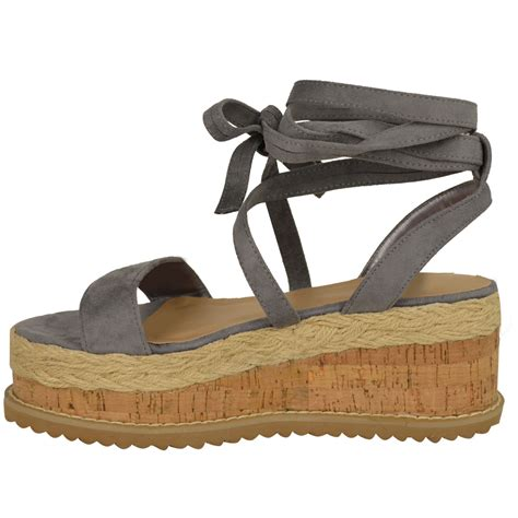 flat espadrille sandals womens flat wedge espadrille lace tie up sandals