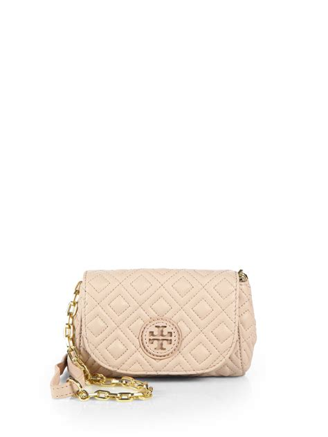 Marion Quilted Crossbody burch marion quilted small crossbody bag in beige