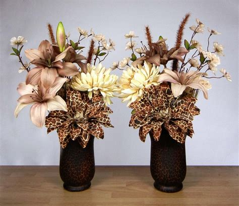 Eiffel Tower Vase With Flowers Pair Of African Safari Theme Silk Floral By Rachelsheart