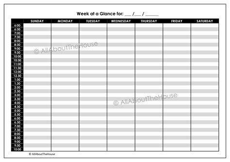 printable calendar at a glance 8 best images of week at a glance calendar printable