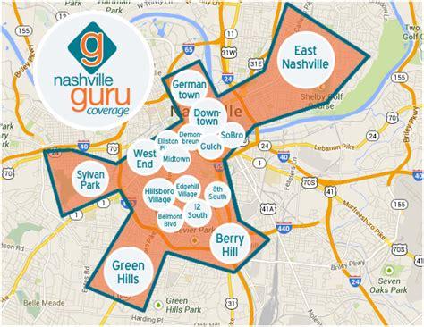 map of nashville area nashville guru coverage map with areas nashville guru