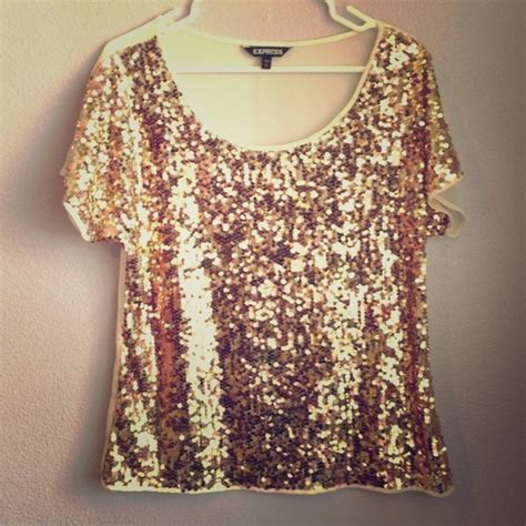express top sequin preloved 60 express tops sheer gold sequin top from