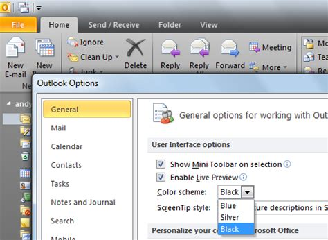 outlook 2010 color scheme how to download skin outlook 2010 techyv com