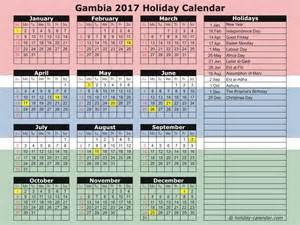 Gambia Calendã 2018 Gambia 2017 2018 Calendar