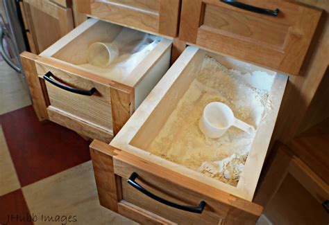 flour storage ideas built in flour sugar drawers craftsman kitchen