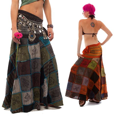 Patchwork Hippie Skirts - hippy patchwork skirt boho hippie wrap skirt