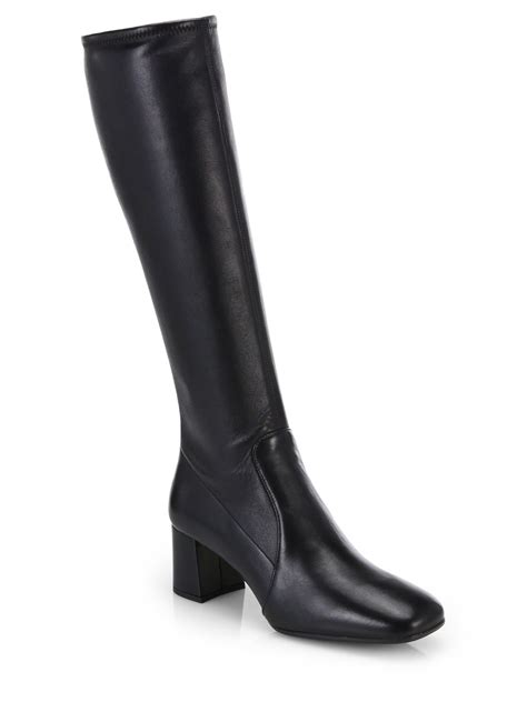 prada boots lyst prada leather knee high boots in black
