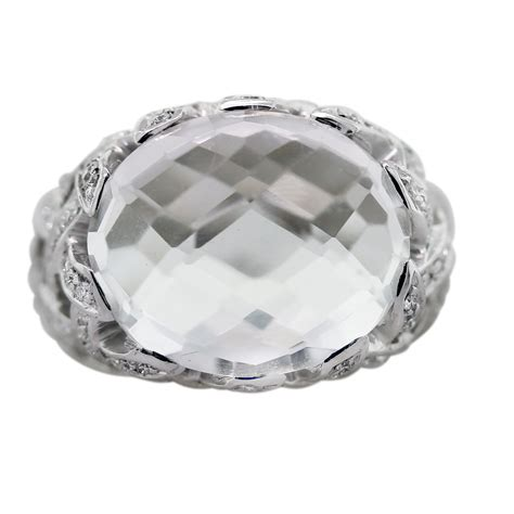18k white gold oval checkerboard cut white quartz ring