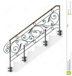 Wood Handrail For Stairs Wrought Iron Stairs Railing Royalty Free Stock Image