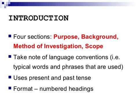 method of sections explained report writing introduction section