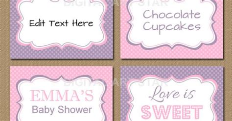 printable bridal shower place cards pink lavender printable buffet cards tent cards buffet