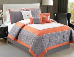 Orange Floral Comforter by The Gallery For Gt Orange And Gray Bedding