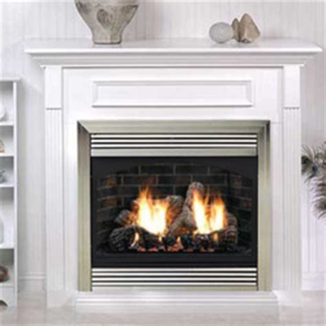 32 quot vail premium vent free fireplace with white mantel and