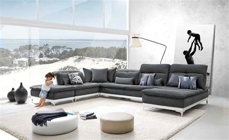grey leather and fabric sofa david ferrari horizon modern grey fabric leather
