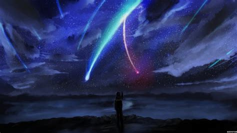 Boy Name Wallpaper your name anime sky horizon comet anime boy