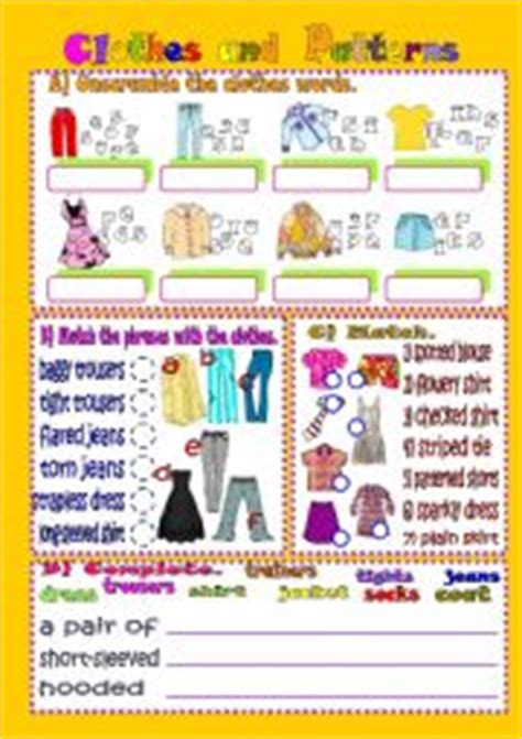 pattern of clothes in english english exercises clothes and patterns