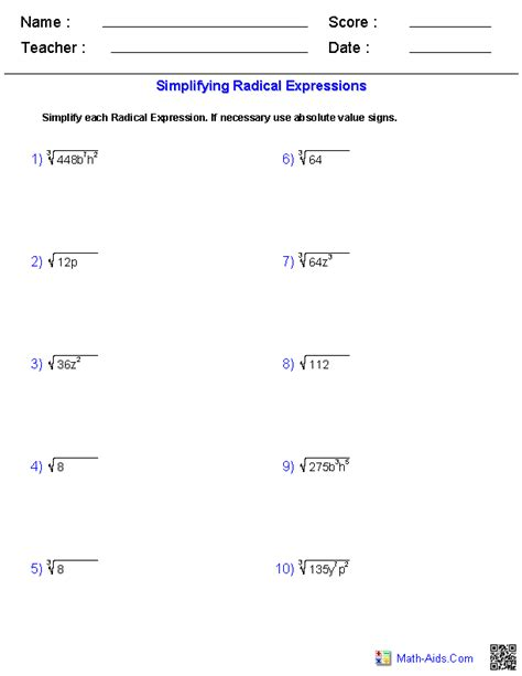 Radical Worksheets by Exponents And Radicals Worksheets Exponents Radicals