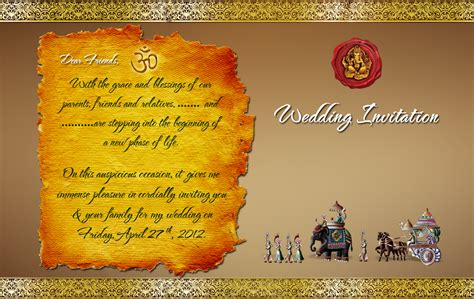 indian wedding card template with psd