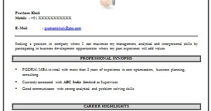 Professional Work Experience For Mba by 10000 Cv And Resume Sles With Free Mba