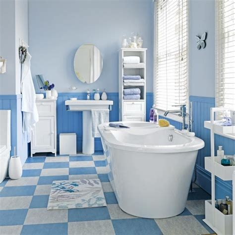 blue and white hardworking bathroom family bathroom