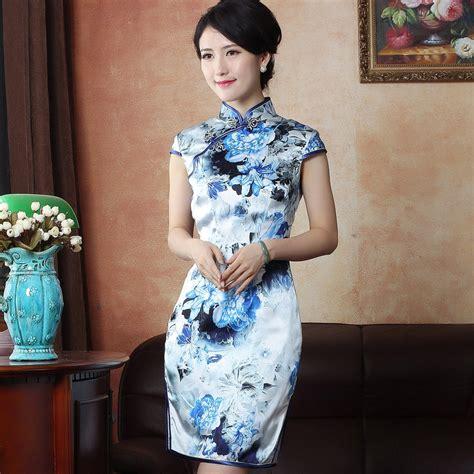 Print Cheongsam attractive flowers print silk cheongsam qipao dress