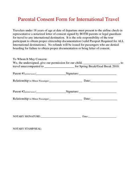 parent permission form template notarized letter template for child travel best business