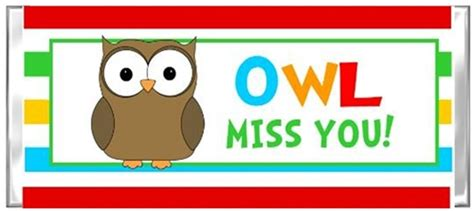 End Of The School Year Candy Wrapper Owl Miss You 2