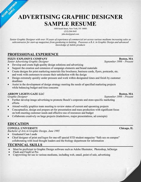 graphic artist resume template advertising graphic designer resume template