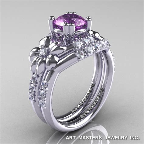 nature inspired 14k white gold 1 0 ct lilac amethyst