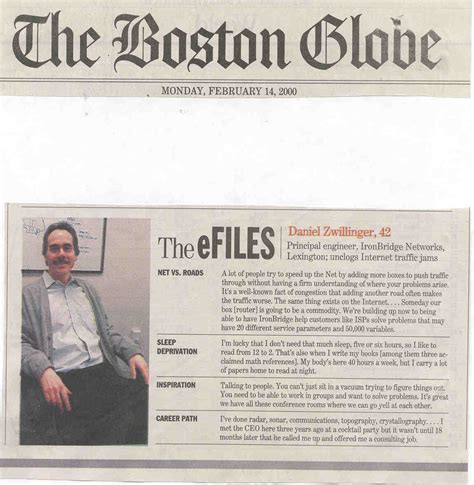 Boston Globe Business Section by Clipping Of Boston Globe Article
