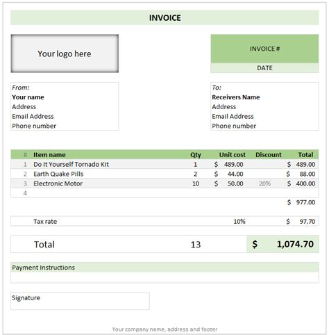 excel template invoice free invoice template using excel today