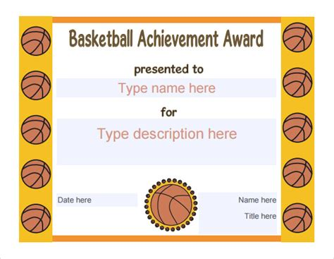 9 Sle Basketball Certificate Templates To Download Sle Templates Basketball Award Templates