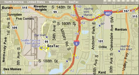 seattle map i5 i 5 sea tac airport exit and gas stations map