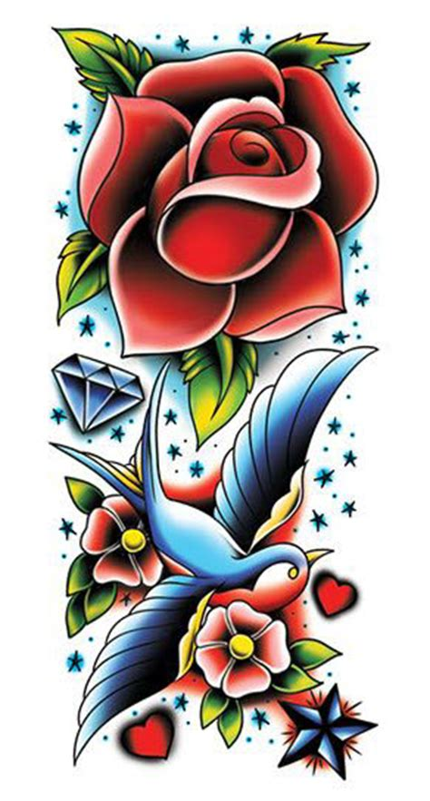 rose and sparrow tattoo and sleeve tattooforaweek temporary